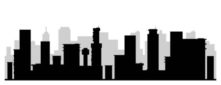 Modern cityscape black silhouette vector illustration. Contemporary metropolis monochrome landscape. Urban skyline 2d cartoon shape with skyscrapers. Business center, financial district