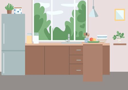 Kitchen flat color vector illustration. Residential house furniture. Fridge near cabinets. Kitchenware, utensils and appliances on counter. Dining room 2D cartoon interior with window on background Vectores