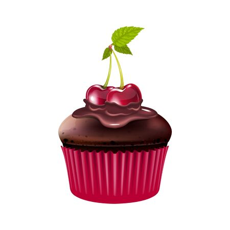 Chocolate muffin with cherry realistic vector illustration. Baked dessert, cupcake with berries and cocoa glaze. Homemade pastry, flour confection 3d isolated object on white background
