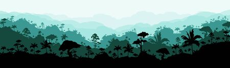 Jungle flat color vector illustration. Calm forest scenery. Panoramic morning woods. Idyllic tropical nature. Wet climate environment. Rainforest 2D cartoon landscape with layers on background Vector Illustration