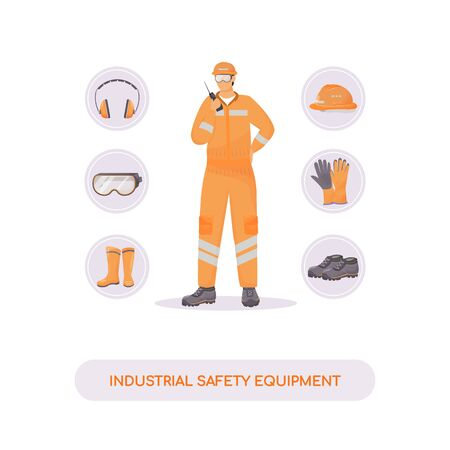 Industrial safety equipment flat concept vector illustration. Hardhat, gum shoes and accessories. Builder, engineer 2D cartoon character for web design. Injury prevention, work safety creative idea