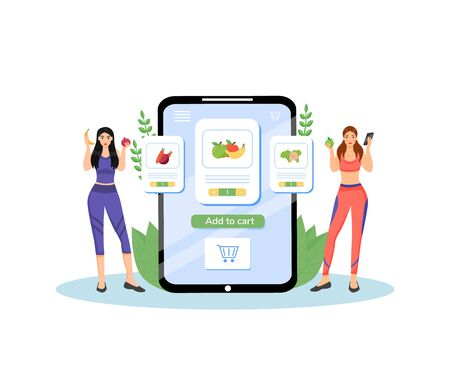 Healthy nutrition plan flat concept vector illustration. Female nutritionists, dieticians 2D cartoon characters for web design. Fresh fruits and vegetables delivery service creative idea
