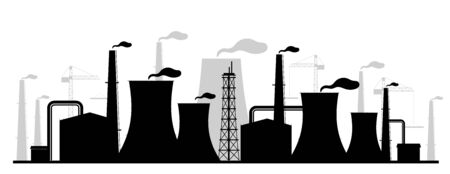 Power plant black silhouette vector illustration. Industrial facility monochrome landscape. Atomic energy station 2d cartoon shape with reactors and chimneys. Air pollution, environment contamination