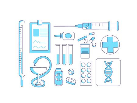 Medicine items turquoise linear objects set. Medical tools and remedies thin line symbols pack. Cures and assignment sheet, thermometer and syringe isolated outline illustrations on white background