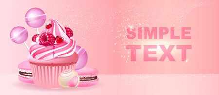 Confectionery realistic vector product ads banner template. Cupcake, macaroons and candies 3d mock up design. Sweet stuff advertisement horizontal printable flyer, brochure with text space Ilustracja