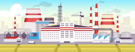 Industrial park flat color vector illustration. Energy station, zoned facility 2D cartoon landscape with cityscape on background. Energy manufacturing station panorama. Urban factory exterior Vecteurs