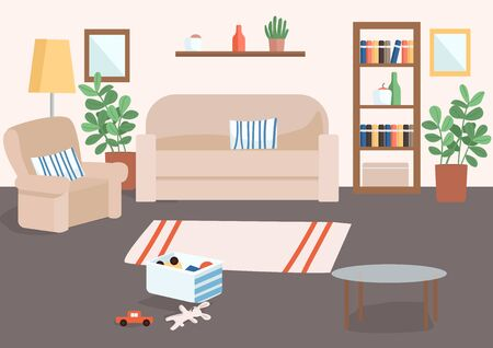 Family living room flat color vector illustration. Basket with children's toys on floor. Carpet for house decoration. Livingroom 2D cartoon interior with couch and armchair on background