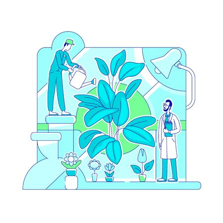 Organic fertilizer testing thin line concept vector illustration. Scientists, botanists 2D cartoon characters for web design. Lab experiment with GMO products. Scientific research creative idea