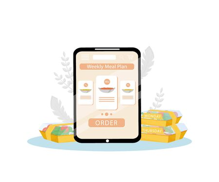 Weekly meal plan order mobile application flat concept vector illustration. Healthy nutrition planning, dietary food everyday delivery. Internet restaurant, nutritionist service creative idea Illustration