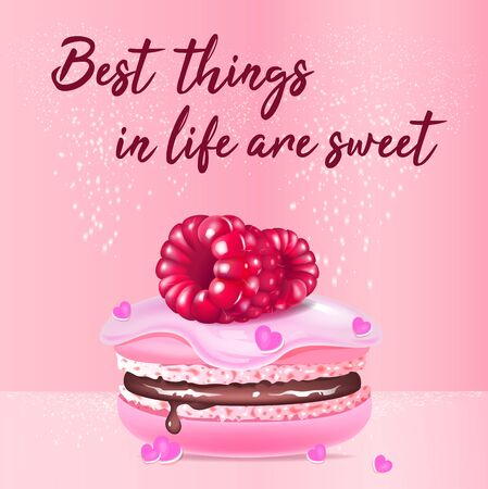 Pink macaroon realistic vector product social media post template. Almond biscuit with berries 3d ads mockup design with text. Best things in life are sweet promotional square web banner layout