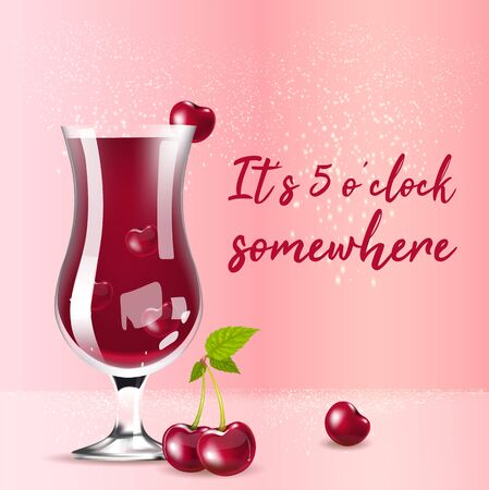 Cherry compote realistic vector product social media post template. Summer drink in glass 3d ads mockup design with text. It is 5 o clock somewhere promotional square web banner layout