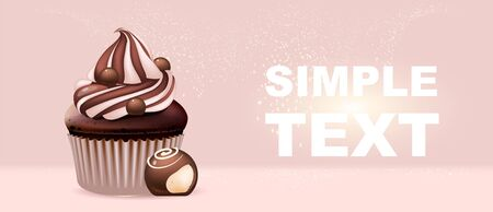 Sweet stuff realistic vector product ads banner template. Cupcake and candy 3d mock up design. Sugar and flour confections advertisement horizontal printable flyer, brochure with text space  イラスト・ベクター素材