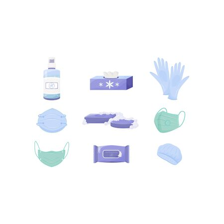 Personal hygiene and disinfection products flat color vector objects set. Respirators and gloves, disposable wipes and antiseptic spray 2D isolated cartoon illustrations on white background Ilustración de vector