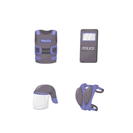 Police personal protective equipment flat color vector objects set. Officer outfit. Attack defense, ballistic protection. Armoring accessories 2D isolated cartoon illustrations on white background