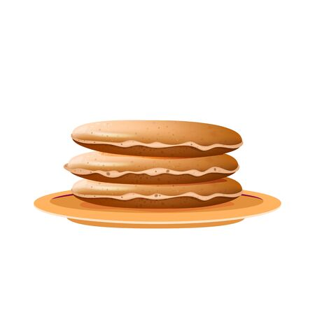 Pancakes stack on beige plate realistic vector illustration. Served dessert, traditional American and canadian breakfast. Fried flapjacks, delicious meal 3d isolated object on white background