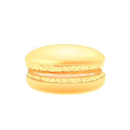 Orange macaroon realistic vector illustration. Traditional french confectionery, almond cookie with condensed milk. Homemade creamy delicious dessert 3d isolated object on white background Illustration