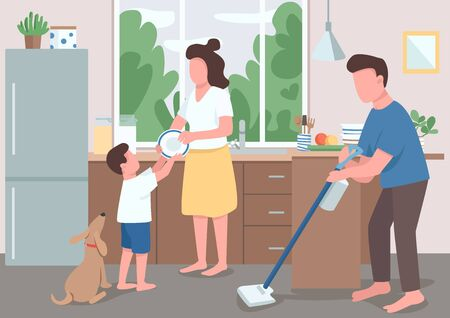 Family house cleanup flat color vector illustration. Dad mopping kitchen floor. Boy help mother wash dishes. Parent cleaning house. Relatives 2D cartoon characters with interior on background