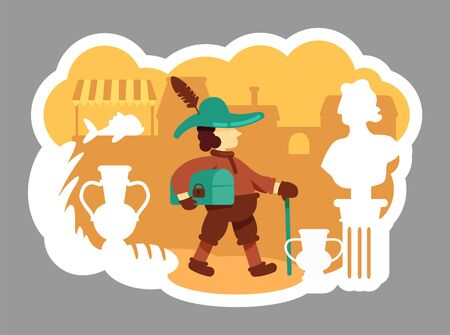 Merchant 2D vector web banner, poster. Commerce in historical period. Medieval trader flat characters on cartoon background. Antique market printable patches, colorful web elements