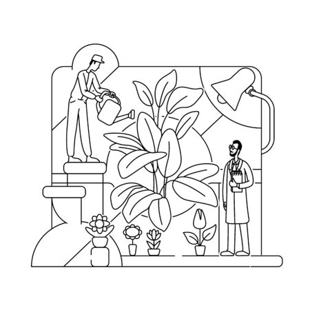 Botanical experiment thin line concept vector illustration. Lab workers, botanists 2D cartoon characters for web design. Chemists, scientists testing bio fertilizer. Botany science creative idea
