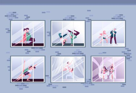 Morning dance class flat color vector illustration. Hip hop and ballet. Group practice. Dancers training in windows. Fun activity 2D cartoon characters inside with interior on background