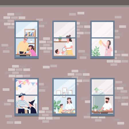 People in different apartments windows flat color vector illustration. Morning routine. Man eat breakfast. Woman clean up. Self isolated relatives 2D cartoon characters with interior on background