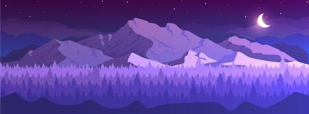 Mountains at night flat color vector illustration. Coniferous forest. Wild peaceful nature. Fir trees and hills on horizon 2D cartoon landscape with crescent moon and starry sky on background