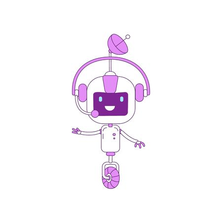 Cute modern robot with operator headset violet linear object. Futuristic online support and telemarketing service bot thin line symbol. AI cyborg isolated outline illustration on white background