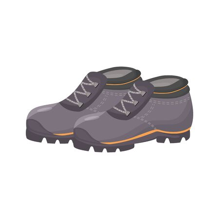 Rubber shoes, galoshes cartoon vector illustration. Personal protective equipment, gardening and industrial waterproof boots. Seasonal footwear. Gray gumboots isolated on white background 일러스트