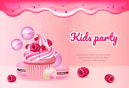 Kids party realistic vector product ads banner template. Muffin, macaroons and candies 3d mock up design. Cupcake and biscuits advertisement horizontal printable flyer, brochure with text space