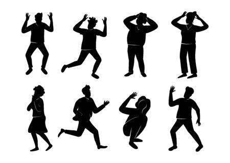 Panikattacke schwarze Silhouette Vektorgrafiken Kit. In Panik geratene Menschen posieren. Erschrockene 2D-Cartoon-Figuren-Formen für Werbung, Animation, Druck. Stresssituation, Problemreaktion