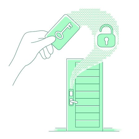 Plastic keycard and keyless lock thin line concept vector illustration. Person using electronic key 2D cartoon character for web design. Home security system, dwelling protection creative idea
