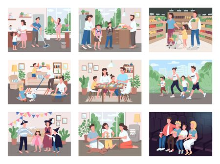 Family routine flat color vector illustrations set. Mother and father buy groceries with kids. Parents spend time with children while cleaning house. Watch movie on couch. 2D cartoon characters