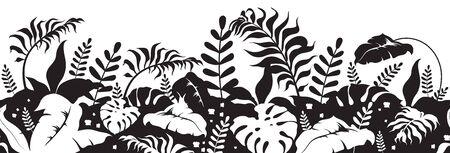 Tropical plants black silhouette seamless border. Jungle vegetation landscape monochrome vector illustration. Palm tree leaves decorative ornament design. Botanical repeating pattern