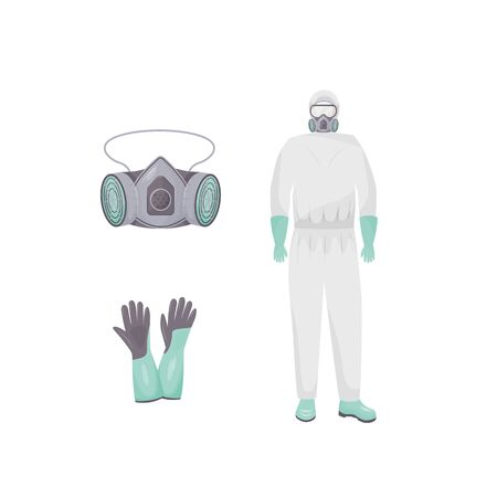 Protective suit and accessories flat color vector objects set. Personal protective equipment. Hazmat clothes, air purifying respirator and gloves 2D isolated cartoon illustrations on white background