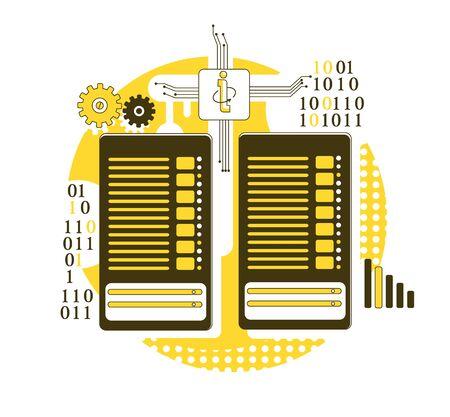 Mainframe thin line concept vector illustration. Server racks 2D cartoon composition for web design. Computer technology, data center equipment. Enterprise storage system creative idea