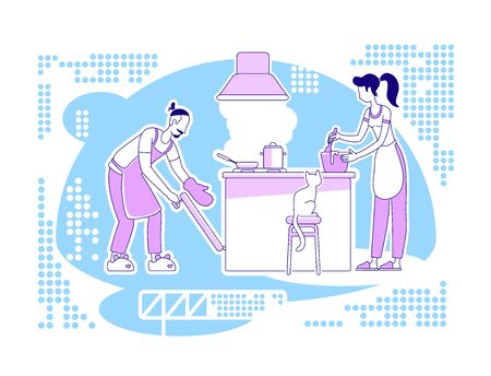 Cook together flat silhouette vector illustration. Man and woman in kitchen prepare meal. Culinary and cookery. Couple outline characters on blue background. Family activity simple style drawing