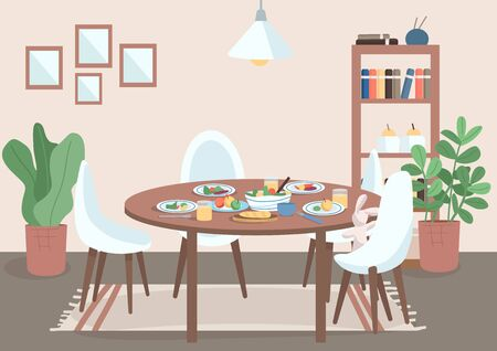 Dining room flat color vector illustration. Table with chair and food on plates. Spot for family meal. Shelves near potted plants. Livingroom 2D cartoon interior with furniture on background