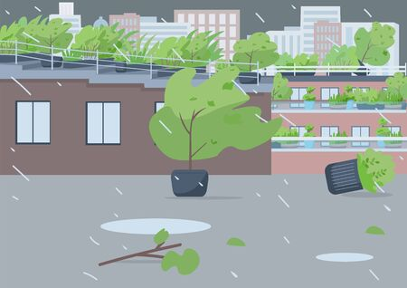 Rainstorm flat color vector illustration. Empty city street 2D cartoon landscape with cityscape on background. Extreme weather, natural disaster. Heavy storm, rainfall with strong blowing wind
