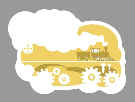 Railroad 2D vector web banner, poster. Technical work. Mechanic cogs. Railway industry flat scenery on cartoon background. Steam engine engineering printable patches, colorful web elements
