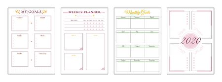 2020 goals minimalist planner page set. Spread for finance goal. Life category to write notes. Pink boxes and color accent. Monthly personal organizer printable sheet layout. Vertical insert for diary