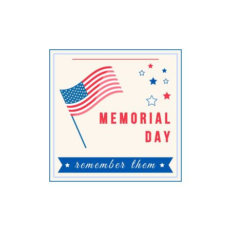 American Memorial Day flat color vector badge. American flag. National United States holiday sticker. US freedom and liberty celebration patch. War hero honor ceremony isolated design element