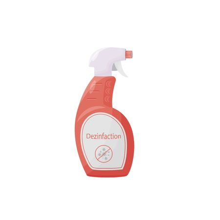 Disinfection product cartoon vector illustration. Antibacterial agent in bottle flat color object. Antivirus spray, sanitizer. Antiseptic in plastic container isolated on white background Ilustracja