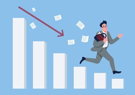 Economic crisis flat concept vector illustration. Businessman running down falling chart in panic 2D cartoon character for web design. Financial collapse, stock market crash creative idea