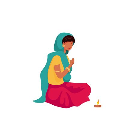 Praying indian girl flat color vector faceless character. Female in sari and scarf. Religious hindu ritual. Puja ceremony isolated cartoon illustration for web graphic design and animation
