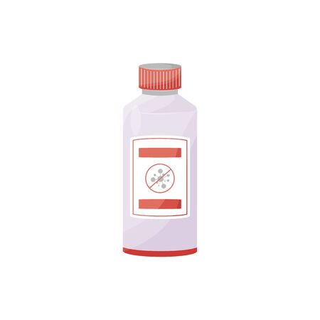 Disinfectant cartoon vector illustration. Antibacterial agent in plastic bottle flat color object. Sanitizer liquid, hand cleaner, antiseptic in container isolated on white background
