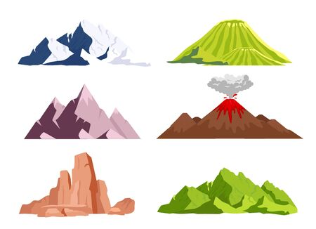 Mountains flat color vector objects set. Ice peaks, green hills. Wild nature landscape elements. Dry desert canyon. Volcano eruption phenomenon. 2D isolated cartoon illustrations on white background