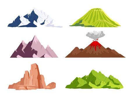 Conjunto de objetos vectoriales de color plano de montañas. Picos de hielo, colinas verdes. Elementos del paisaje de naturaleza salvaje. Cañón del desierto seco. Fenómeno de erupción volcánica. Ilustraciones 2D de dibujos animados aislados sobre fondo blanco