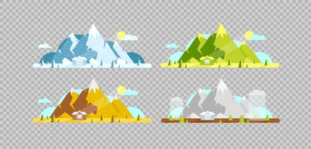 Mountain and house flat color vector objects set. Four seasons. Hill and village lodge on summer, spring, winter and autumn 2D isolated cartoon illustrations on transparent background Vektorgrafik