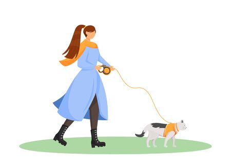 Woman walk cat flat color vector faceless character. Female pet owner with kitten on leash. Animal fashion. Pet sitting isolated cartoon illustration for web graphic design and animation