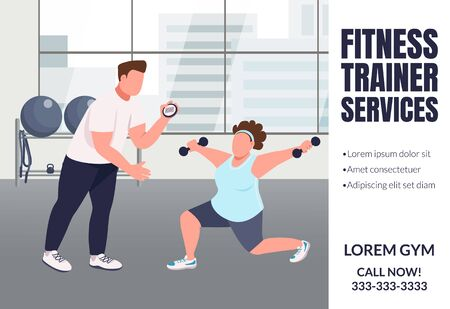 Fitness trainer services banner flat vector template. Slimming, weight loss brochure, poster concept design with cartoon characters. Sports coaching horizontal flyer, leaflet with place for text